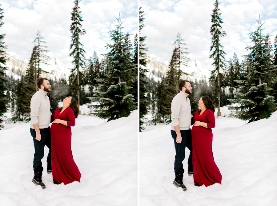 red maternity dress snow